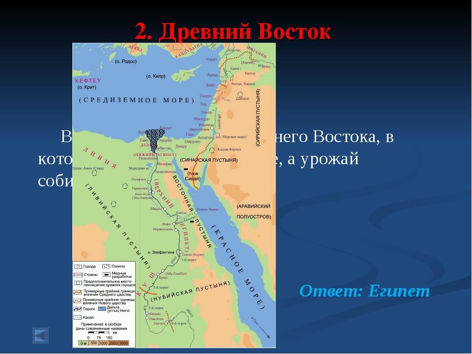 2. Древний Восток 30 баллов. Вопрос: Государство Древнего Востока, в котором...