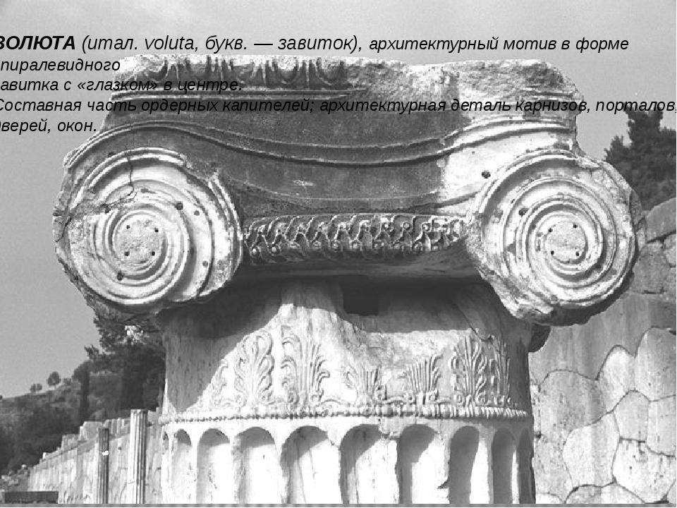ВОЛЮТА (итал. voluta, букв. — завиток), архитектурный мотив в форме спиралеви...