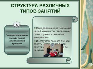 СТРУКТУРА РАЗЛИЧНЫХ ТИПОВ ЗАНЯТИЙ Определение и разъяснение целей занятия. Ус