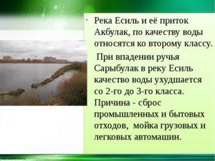Река Есиль и её приток Акбулак, по качеству воды относятся ко второму классу.