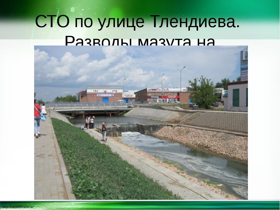 СТО по улице Тлендиева. Разводы мазута на поверхности http://linda6035.ucoz.ru/