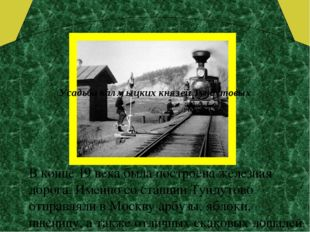 В конце 19 века была построена железная дорога. Именно со станции Тундутово
