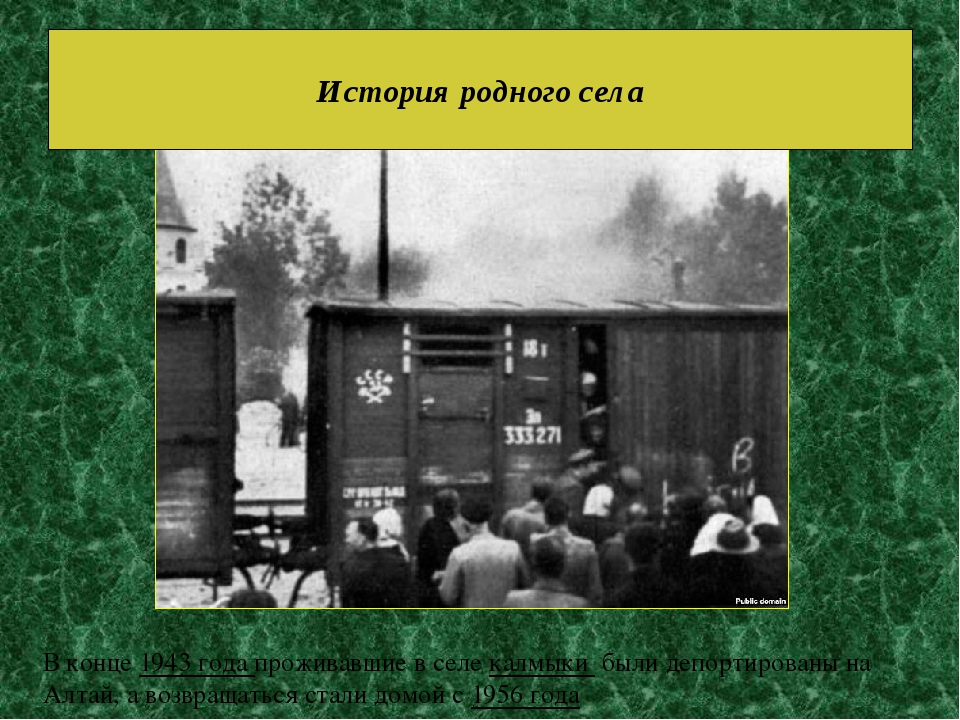 История родного села В конце1943 года проживавшие в селекалмыки былидепор...