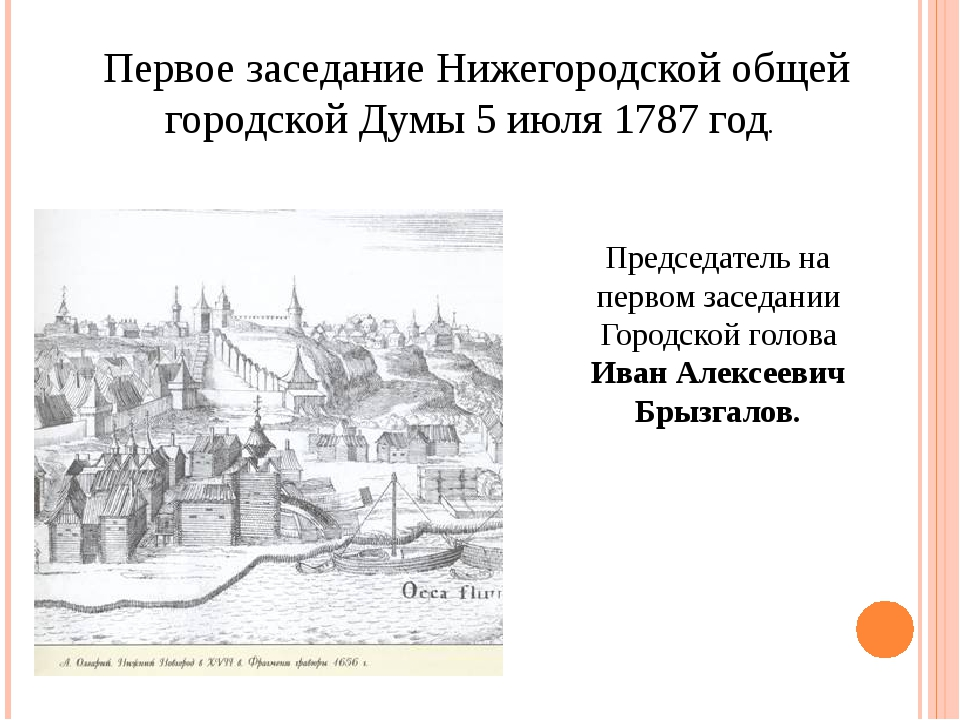 Первое заседание Нижегородской общей городской Думы 5 июля 1787 год. Председа...
