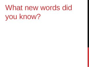 What new words did you know?