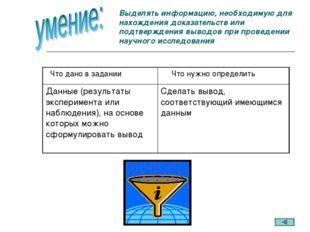 Выделять информацию, необходимую для нахождения доказательств или подтвержден