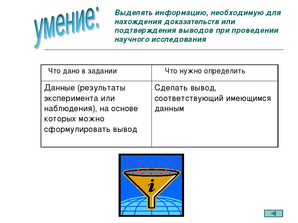Выделять информацию, необходимую для нахождения доказательств или подтвержден...