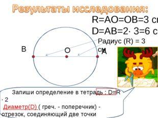 Радиус (R) = 3 см А В О R=АО=ОВ=3 см D=АВ=2· 3=6 см