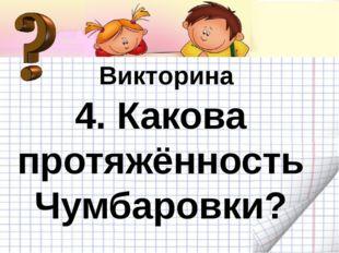 Викторина Викторина 4. Какова протяжённость Чумбаровки?