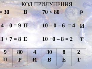 КОД ПРИЛУНЕНИЯ 30 = 30 5 + 4 – 0 = 9 4 – 3 + 7 = 8 В П Е 70 < 80 10 – 0 – 6 =