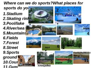 Where can we do sports?What places for sports do you know? 1.Stadium 2.Skatin
