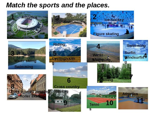 Match the sports and the places. 1 2 3 3 4 4 5 6 7 8 9 10 11 Swimming Swimmin...