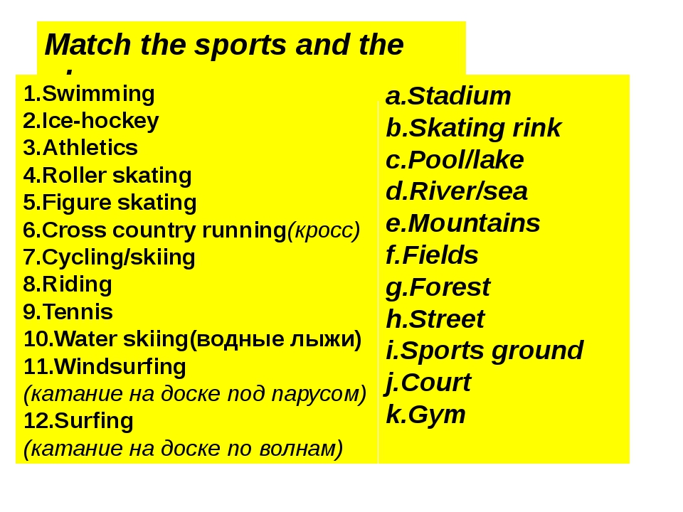 Match the sports and the places. 1.Swimming 2.Ice-hockey 3.Athletics 4.Roller...
