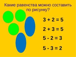 Какие равенства можно составить по рисунку? 5 - 3 = 2 3 + 2 = 5 2 + 3 = 5 5 -