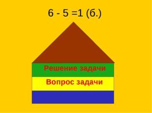 Решение задачи Вопрос задачи 6 - 5 =1 (б.)