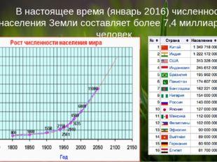 В настоящее время (январь 2016) численность населения Земли составляет более
