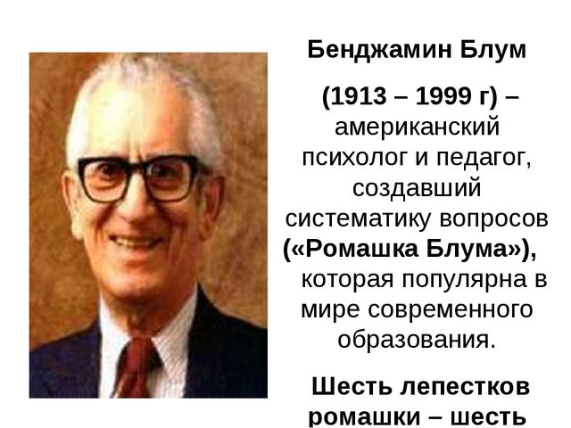 Бенджамин Блум (1913 – 1999 г) – американский психолог и педагог, создавший с...