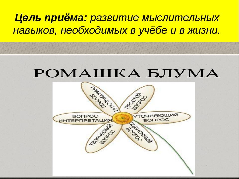 Цель приёма: развитие мыслительных навыков, необходимых в учёбе и в жизни.