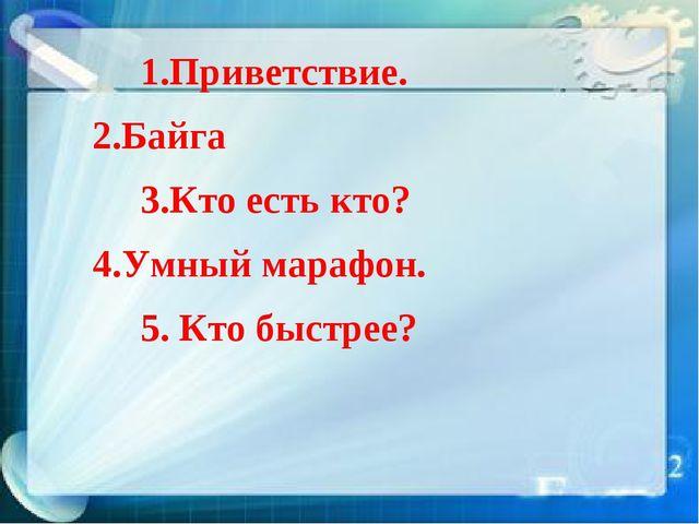 1.Приветствие. 2.Байга 3.Кто есть кто? 4.Умный марафон. 5. Кто быстрее?