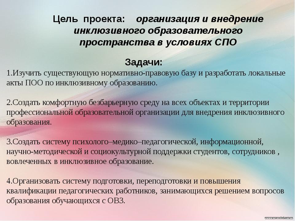 Цель проекта: организация и внедрение инклюзивного образовательного пространс...