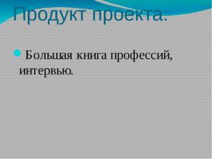 Продукт проекта: Большая книга профессий, интервью.