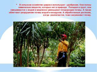 В сельском хозяйстве широко используют удобрения. Они полны химических вещест