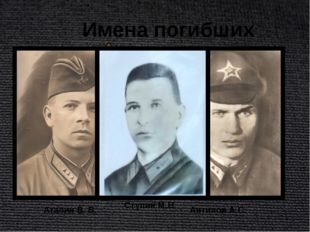 Имена погибших лётчиков Атапин В. В. Антипов А.С. Ступин М.В.