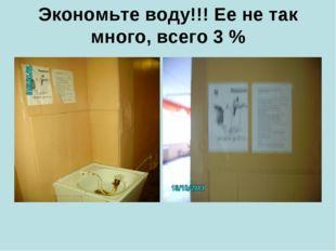 Экономьте воду!!! Ее не так много, всего 3 %