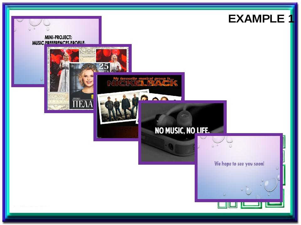 EXAMPLE 1 Пример мини-проекта о музыке