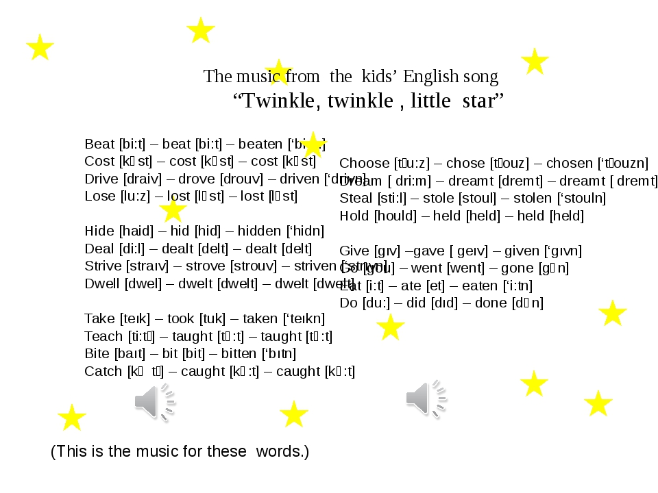 """The music from the kids' English song """"Twinkle, twinkle , little star""""  Bea..."""