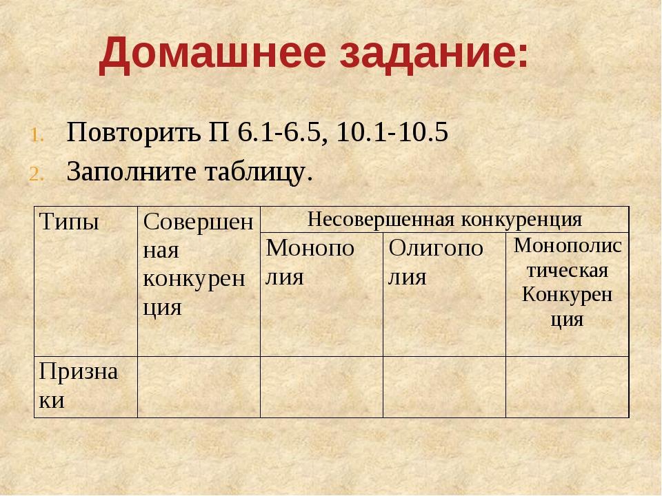 Домашнее задание: Повторить П 6.1-6.5, 10.1-10.5 Заполните таблицу. ТипыСове...