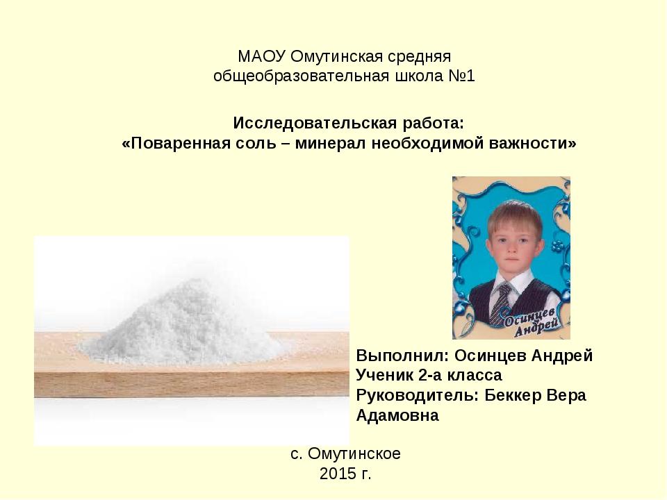 МАОУ Омутинская средняя общеобразовательная школа №1 Исследовательская работа...