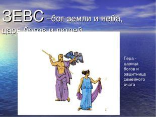 ЗЕВС –бог земли и неба, царь богов и людей Гера - царица богов и защитница се