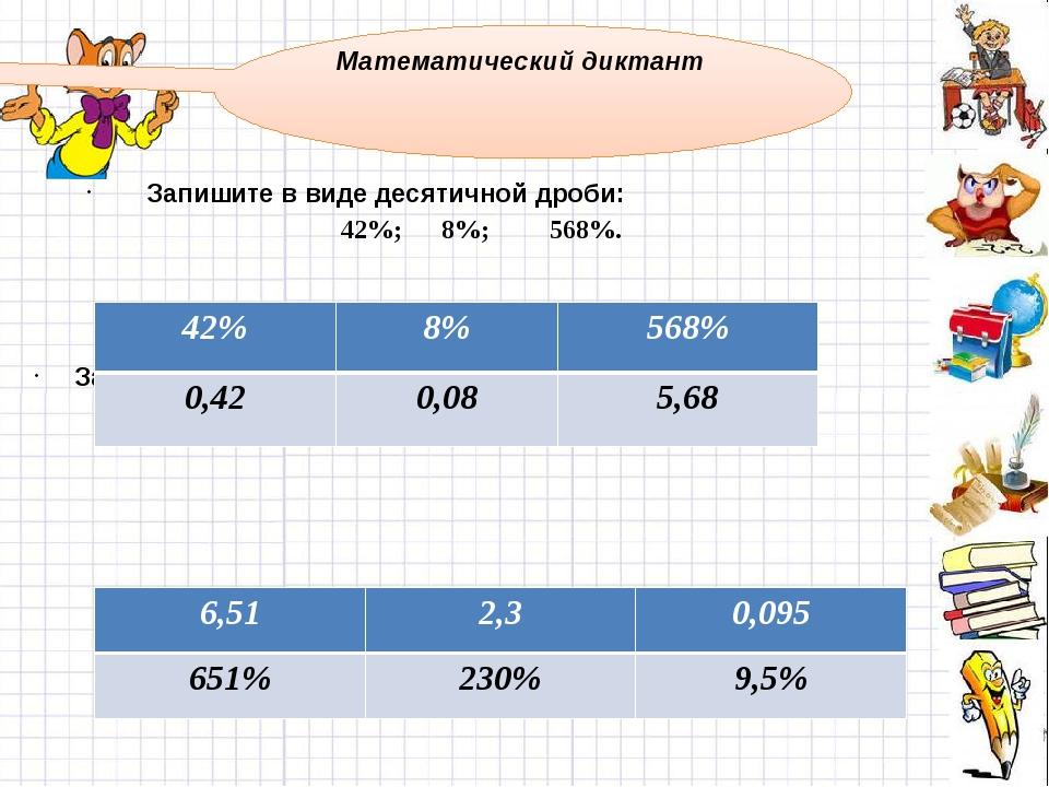 Запишите в виде десятичной дроби: 42%; 8%; 568%. Запишите в виде процентов д...