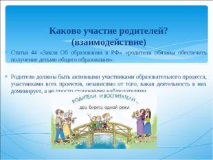 Каково участие родителей? (взаимодействие) Статья 44 «Закон Об образовании в