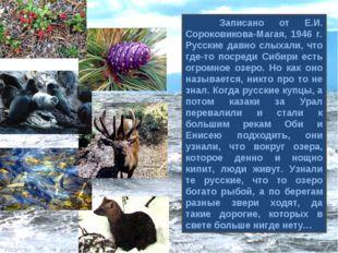 Записано от Е.И. Сороковикова-Магая, 1946 г. Русские давно слыхали, что где-