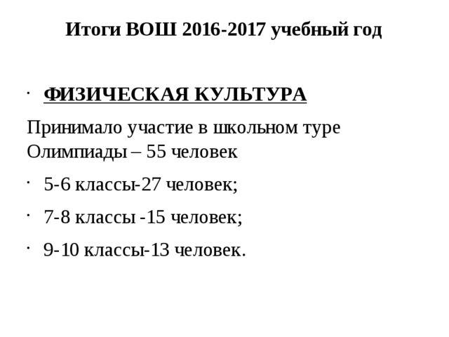 Итоги ВОШ 2016-2017 учебный год ФИЗИЧЕСКАЯ КУЛЬТУРА Принимало участие в школь...