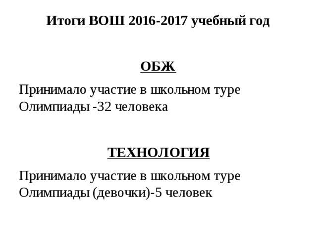 Итоги ВОШ 2016-2017 учебный год ОБЖ Принимало участие в школьном туре Олимпиа...