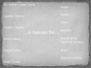 …is famous for… Sir Arthur Conan Doyle Agatha Christie Charlie Chaplin John L