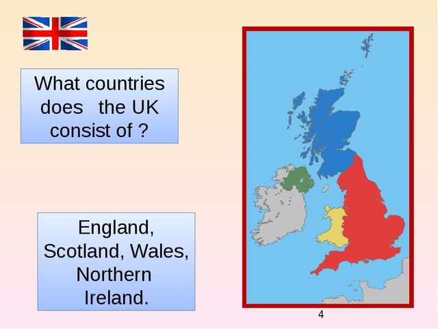 What countries does the UK consist of ? England, Scotland, Wales, Northern I...