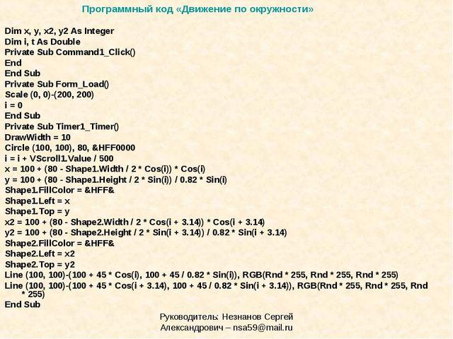 Руководитель: Незнанов Сергей Александрович – nsa59@mail.ru Dim x, y, x2, y2...