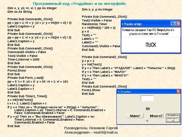 Руководитель: Незнанов Сергей Александрович – nsa59@mail.ru Dim x, y, y2, ni,...