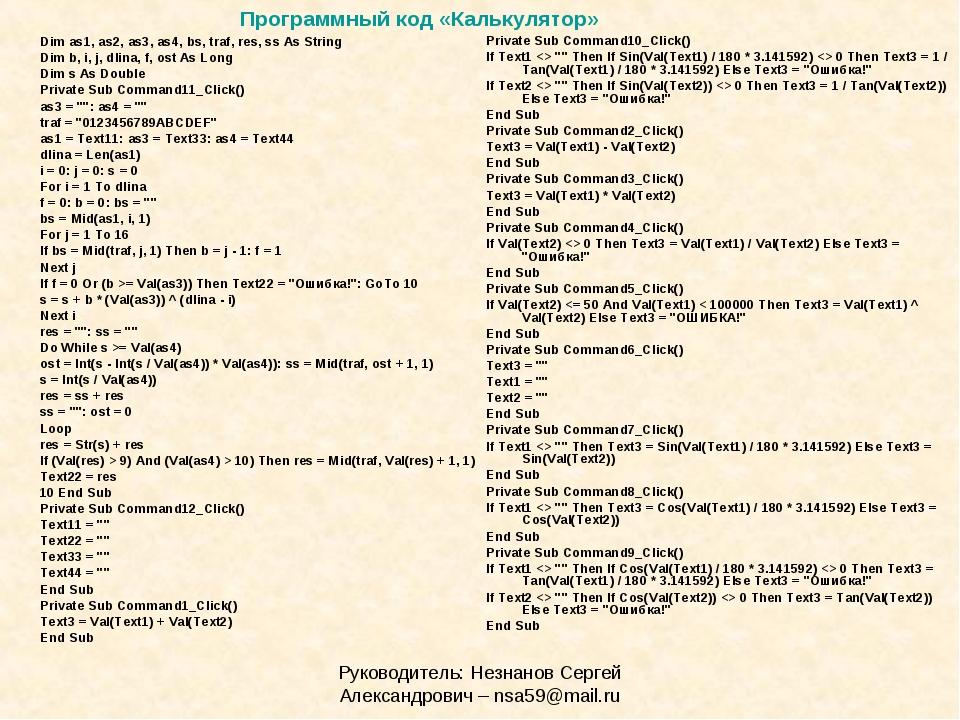 Руководитель: Незнанов Сергей Александрович – nsa59@mail.ru Dim as1, as2, as3...