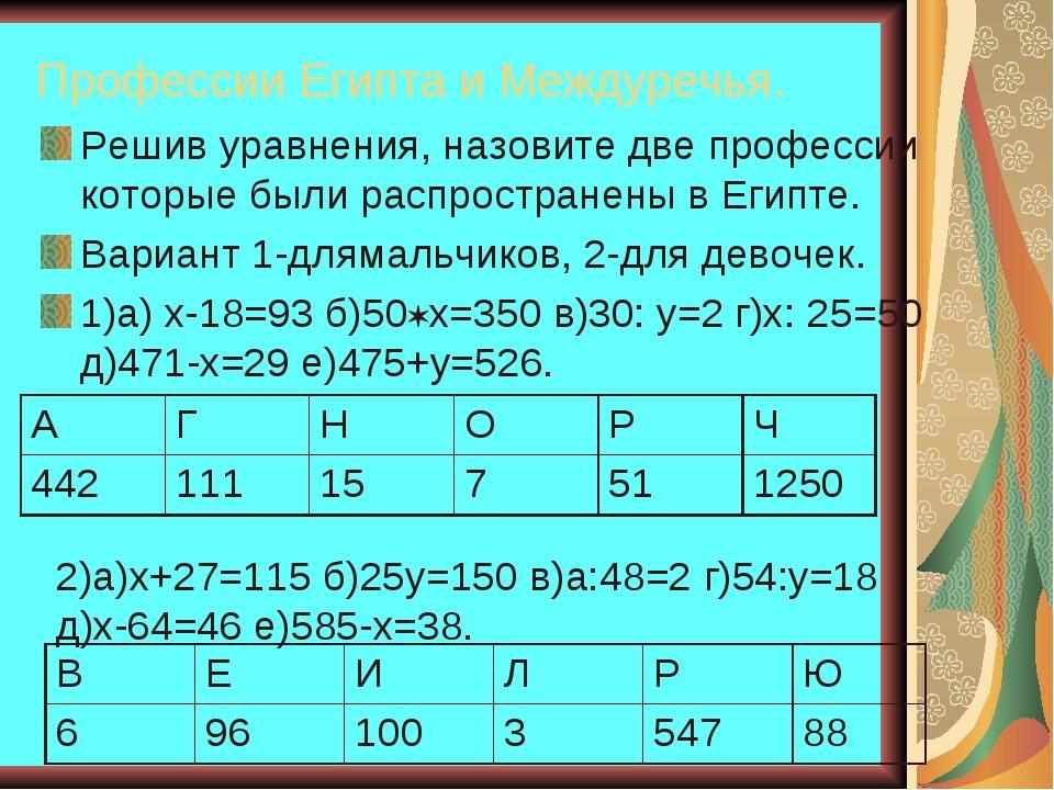 Профессии Египта и Междуречья. Решив уравнения, назовите две профессии которы...