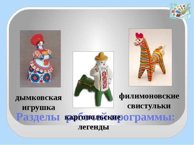 Разделы рабочей программы: дымковская игрушка филимоновские свистульки карго...
