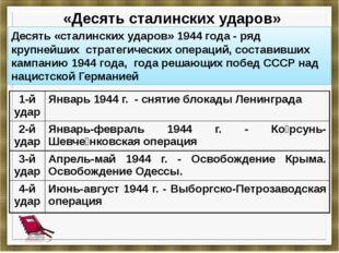 «Десять сталинских ударов» Десять «сталинских ударов» 1944 года- ряд крупне