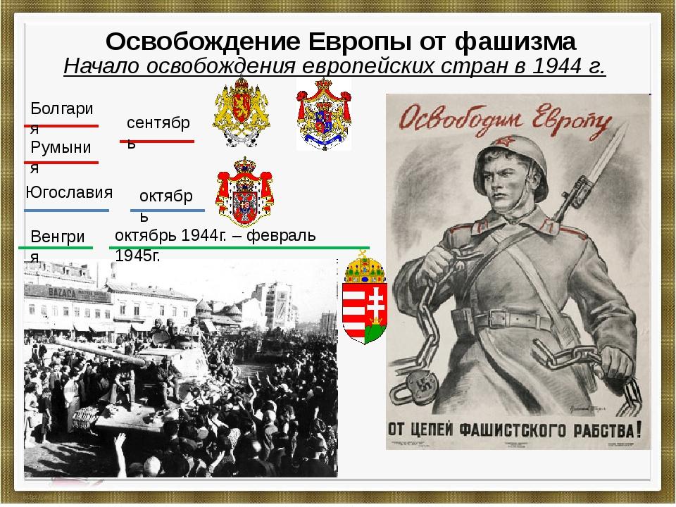 Освобождение Европы от фашизма Начало освобождения европейских стран в 1944...
