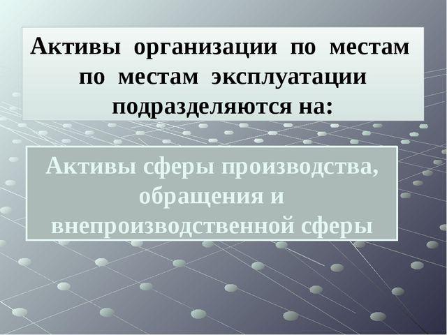 Активы сферы производства, обращения и внепроизводственной сферы Активы орган...