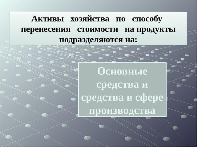 Основные средства и средства в сфере производства Активы хозяйства по способу...