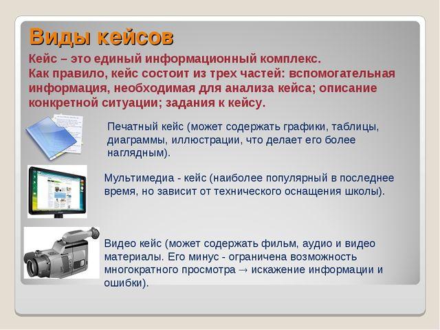 Виды кейсов Кейс – это единый информационный комплекс. Как правило, кейс сост...